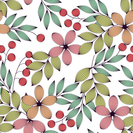 Pastel colored elegant leaves and flowers and berries seamless pattern, vector background