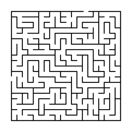 Black and white simple maze puzzle, vector illustration