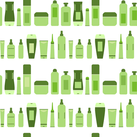Beauty products green cosmetic bottles and tubes on white seamless pattern, vector Ilustração