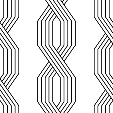 Black and white lines geometric art deco style simple seamless pattern, vector Illustration