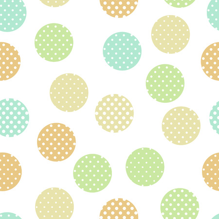 Simple pastel colored doted circles on white geo seamless pattern, vector