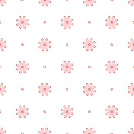 Subtle pink flowers on white, simple seamless pattern, vector Illustration