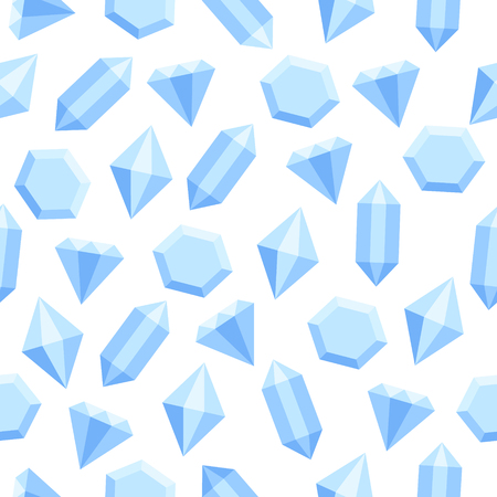 Simple flat blue diamond crystals on white seamless pattern, vector