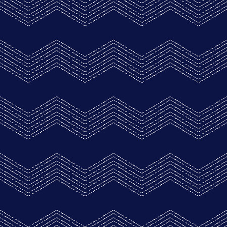 Blue and white chevron grunge geometric seamless pattern, vector