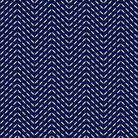 Blue and white quilted fabric herringbone stitches geometric seamless pattern, vector