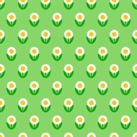 Subtle white chamomile flowers on green, simple seamless pattern. Vector illustration.
