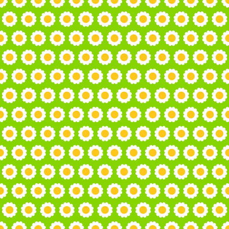 Subtle white chamomile flowers on green, simple seamless pattern, vector background