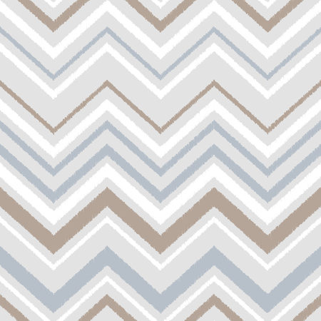 Gray blue and white chevron ikat ornament geometric abstract fabric seamless pattern, vector background