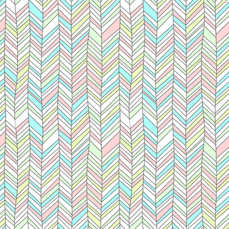 Pastel colored textured chevron ornament geometric abstract seamless pattern, vector background Illustration
