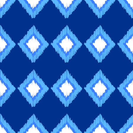 Blue and white ikat ornament geometric abstract fabric seamless pattern, vector background Stockfoto