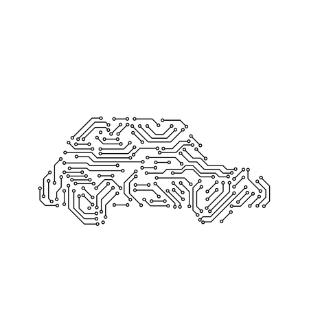 Printed circuit board black and white car shape computer technology, vector illustration.  イラスト・ベクター素材