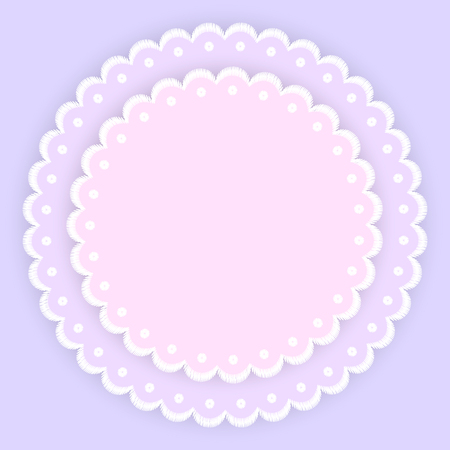 Pink purple and white scalloped lacy edge embroidery circle doilies, card template, vector illustration