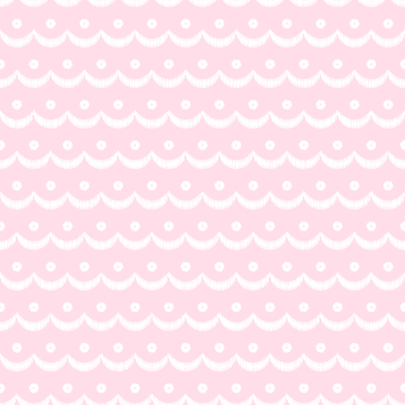 Pink and white scalloped lacy edge embroidery, seamless pattern, vector background
