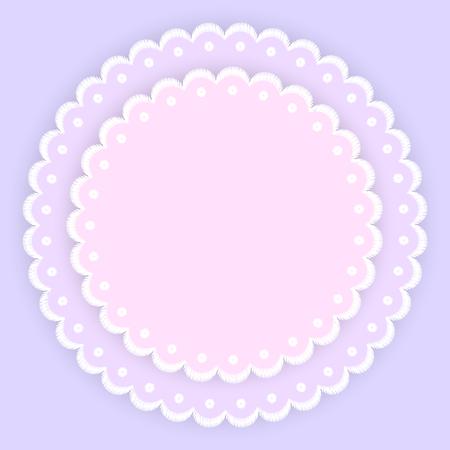 Napperons de cercle de broderie de bord de dentelle festonné rose violet et blanc, modèle de carte, illustration vectorielle Vecteurs