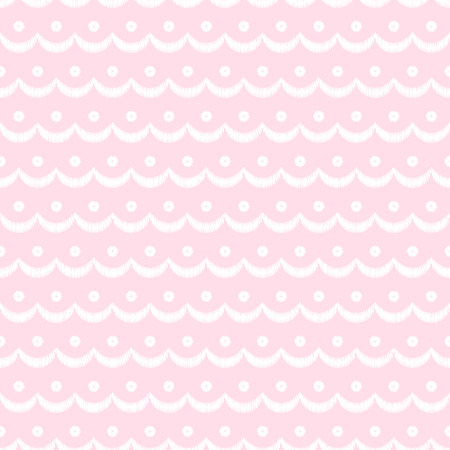 Pink and white scalloped lacy edge embroidery, seamless pattern, vector