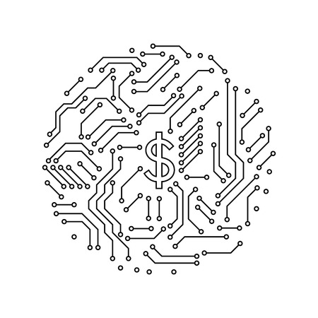 Printed circuit board black and white house shape computer technology, vector illustration