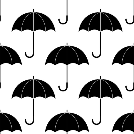 Black and white simple umbrellas silhouettes, seamless pattern, vector background