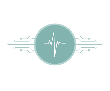 White heartbeat pulse on blue circle with printed circuit board microchip lines, smart telemedicine symbol, vector illustration