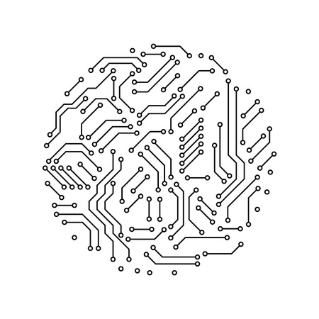 Marvelous Printed Circuit Board Black And White Circle Shape Symbol Of Wiring 101 Swasaxxcnl