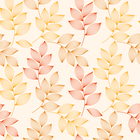 Red and yellow autumn leaves with veins seamless pattern, vector background