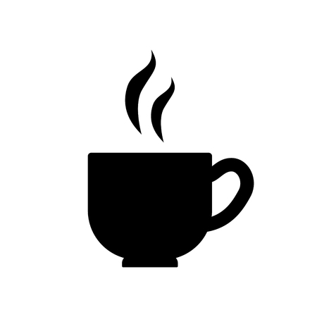 Black and white coffee mug simple icon, vector Imagens - 106774659