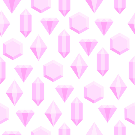 Simple flat pink diamond crystals on white seamless pattern, vector background