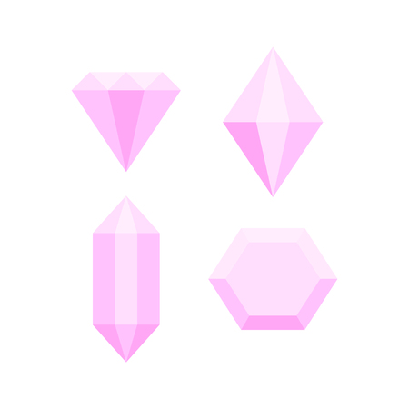 Simple pink diamond crystals on white set, vector