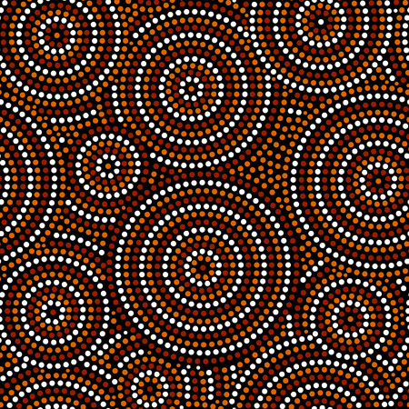 Australian aboriginal dot art circles abstract geometric seamless pattern in brown black and white, vector background