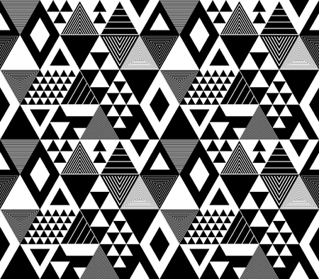 Black and white textured bold triangles geometric abstract seamless pattern, vector background Vetores