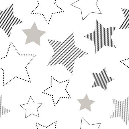 Black and white simple striped and doted stars geometric seamless pattern, vector background