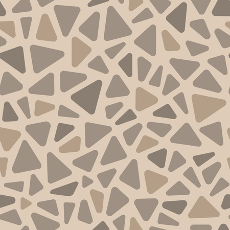 Beige and gray pavement stone triangle shape mosaic geometric seamless pattern, vector Stock Illustratie