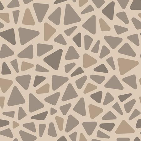 Beige and gray pavement stone triangle shape mosaic geometric seamless pattern, vector Illustration