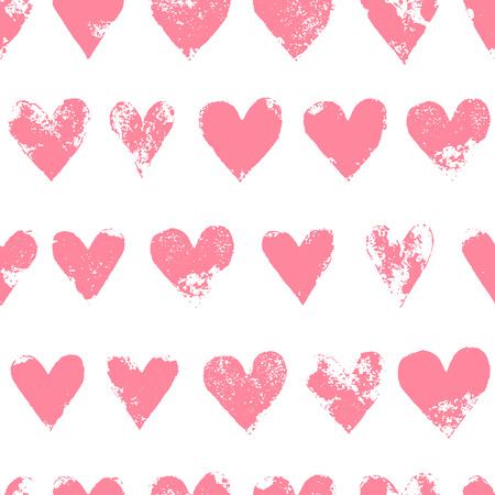 Grunge sponge print rough pink hearts on white seamless pattern, vector illustration
