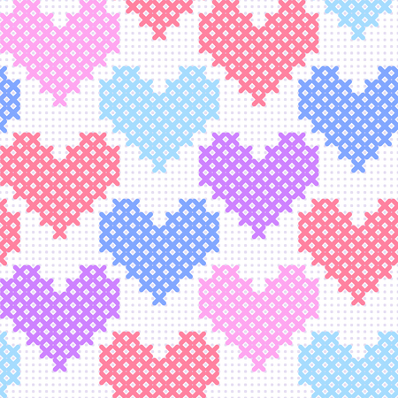 Colorful pink blue purple simple cute cross stitch hearts on white canvas seamless pattern, vector illustration Illustration