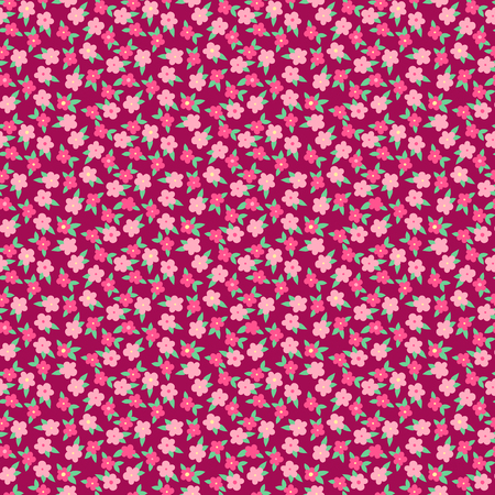Simple cute pink flowers with leaves on dark red, ditsy seamless pattern, vector background