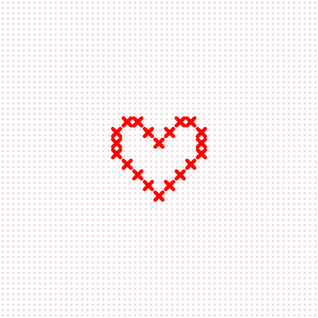 Red simple cute cross stitch heart on white canvas card template, vector illustration