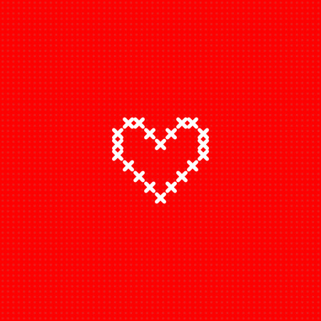 White simple cute cross stitch heart on red canvas card template, vector illustration Illustration