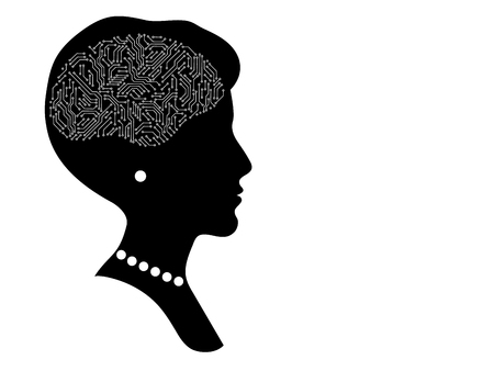 Female head profile silhouette with printed circuit board brain, black and white artificial intellect concept, vector illustration