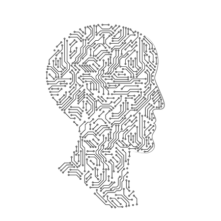 Male head profile silhouette made with printed circuit board, black and white artificial intellect futuristic concept, vector illustration Vector Illustratie