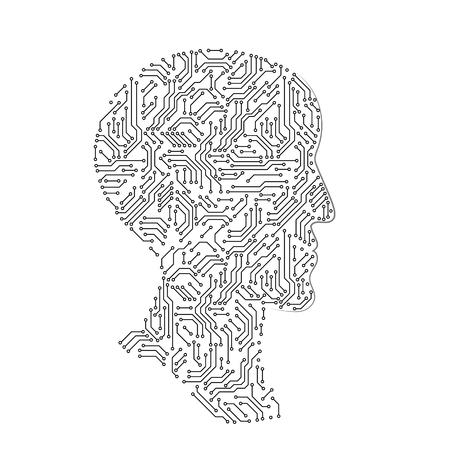 Silhouette de profil de tête masculine faite avec une carte de circuit imprimé, concept futuriste d'intellect artificiel noir et blanc, illustration vectorielle Vecteurs