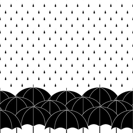 Black and white umbrellas with rain drops, seamless border, vector background