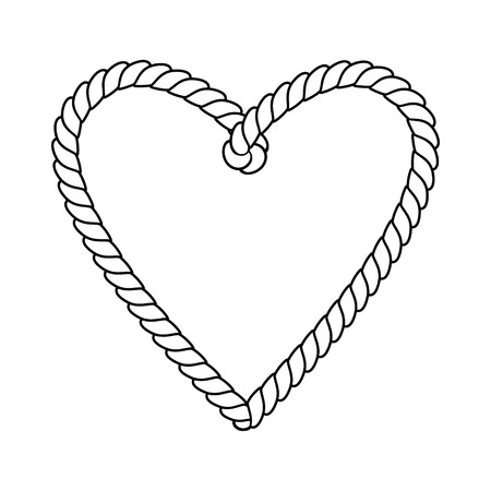Black and white twine rope heart, love bonds, valentine day concept, vector illustration.