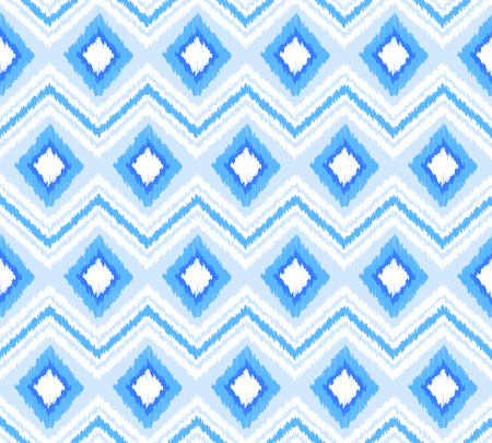 Blue and white ikat textured chevron and rhombus seamless pattern, vector background Иллюстрация