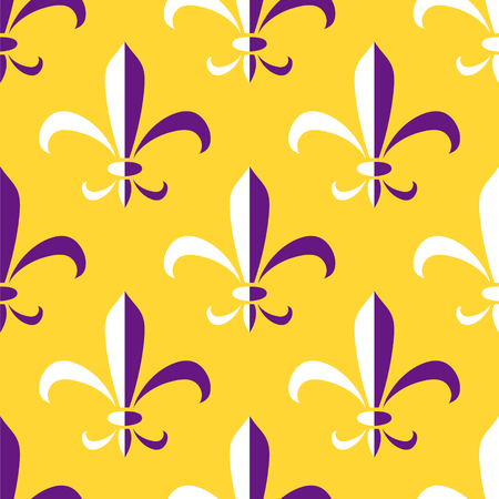 Royal lily heraldic emblem of mardi gras purple and yellow seamless pattern, vector background