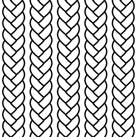 Black and white braided rope seamless pattern, vector background