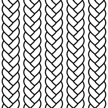 Zwart-wit gevlochten touw naadloze patroon, vector background