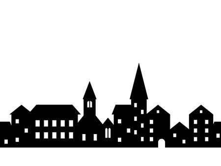 Schwarz-Weiß-Häuser und Gebäude Kleinstadtstraße nahtlose Grenze, Vektor
