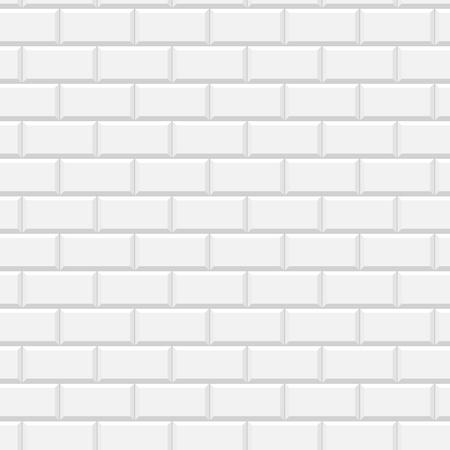 Białe błyszczące płytki metra ściany wzór, tło wektor Ilustracje wektorowe