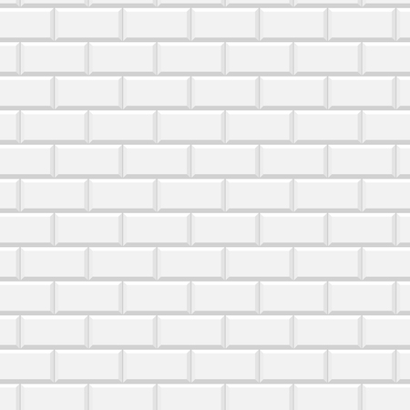 White glossy subway tiles wall seamless pattern, vector background Illustration