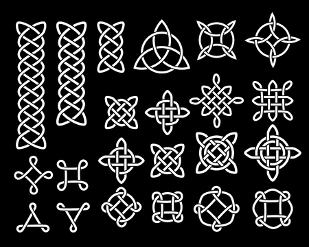 Black and white celtic knots and symbols ethnic set, vector